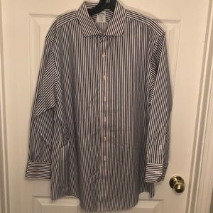Brooks brothers blue and white striped dress shirt
